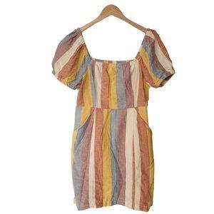 American Eagle Stripe Smocked Linen Blend Dress